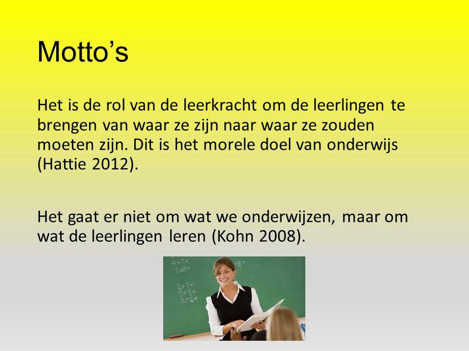 Motto's Het is de rol van de leerkracht om de leerlingen te brengen van waar ze zijn naar waar ze zouden moeten zijn. Dit is het morele doel van onder