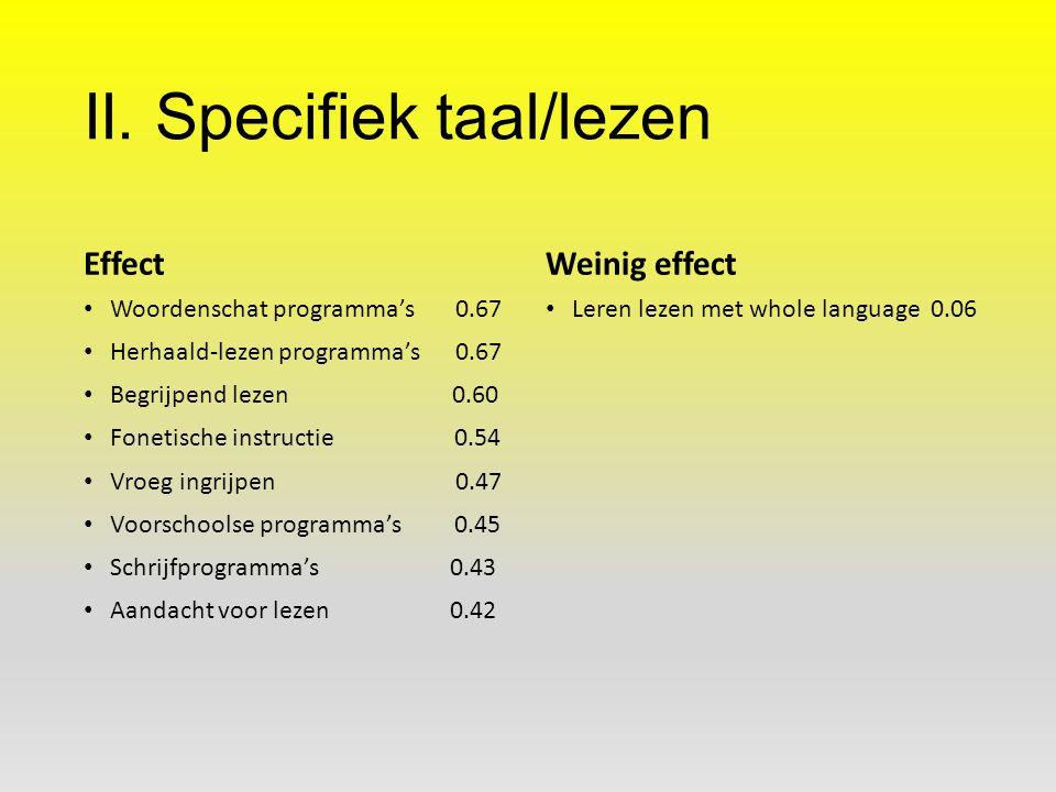 II. Specifiek taal/lezen Effect Woordenschat programma's 0.67 Herhaald-lezen programma's 0.67 Begrijpend lezen 0.60 Fonetische instructie 0.54 Vroeg i