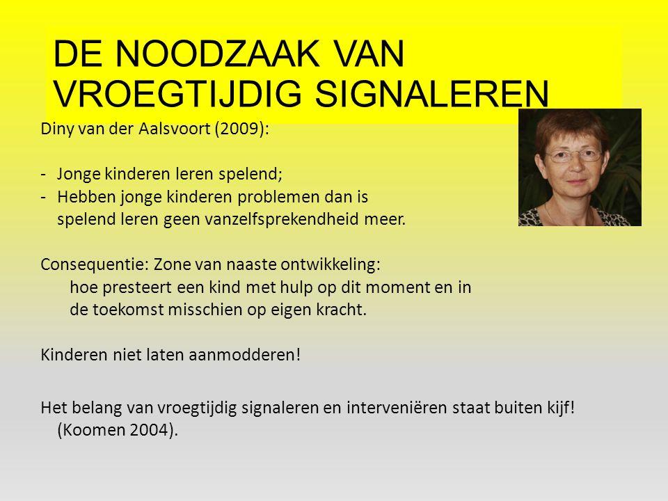 DE NOODZAAK VAN VROEGTIJDIG SIGNALEREN Diny van der Aalsvoort (2009): -Jonge kinderen leren spelend; -Hebben jonge kinderen problemen dan is spelend l