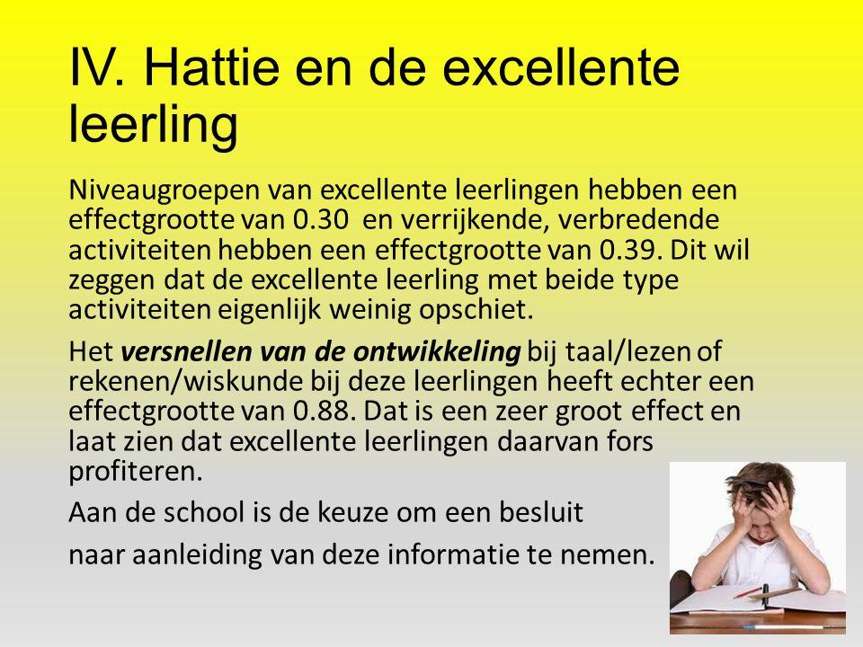 IV. Hattie en de excellente leerling Niveaugroepen van excellente leerlingen hebben een effectgrootte van 0.30 en verrijkende, verbredende activiteite