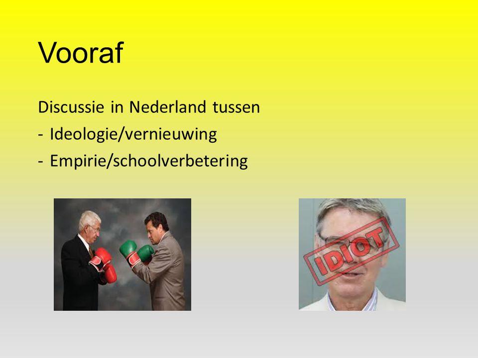 Vooraf Discussie in Nederland tussen -Ideologie/vernieuwing -Empirie/schoolverbetering