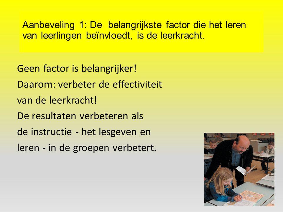 Aanbeveling 1: De belangrijkste factor die het leren van leerlingen beïnvloedt, is de leerkracht. Geen factor is belangrijker! Daarom: verbeter de eff
