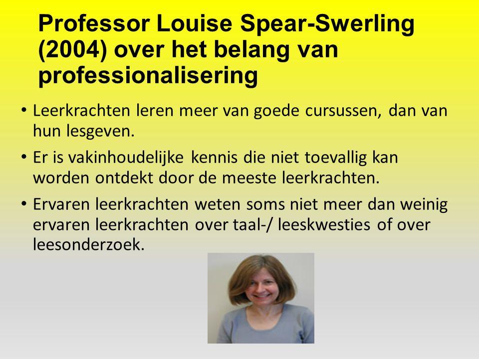 Professor Louise Spear-Swerling (2004) over het belang van professionalisering Leerkrachten leren meer van goede cursussen, dan van hun lesgeven. Er i
