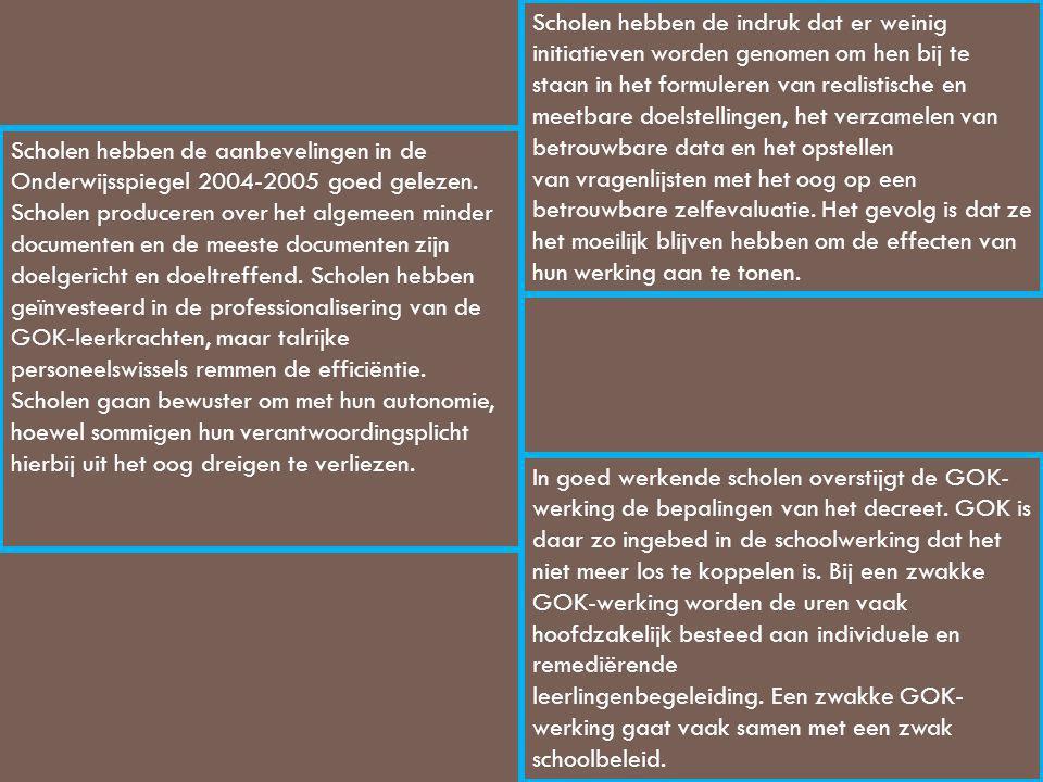 Scholen hebben de aanbevelingen in de Onderwijsspiegel 2004-2005 goed gelezen. Scholen produceren over het algemeen minder documenten en de meeste doc