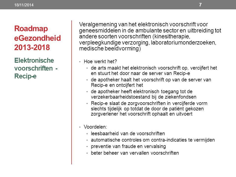 Roadmap eGezondheid 2013-2018 Elektronische voorschriften - Recip-e 18/11/2014 7 Veralgemening van het elektronisch voorschrift voor geneesmiddelen in de ambulante sector en uitbreiding tot andere soorten voorschriften (kinesitherapie, verpleegkundige verzorging, laboratoriumonderzoeken, medische beeldvorming) Hoe werkt het.