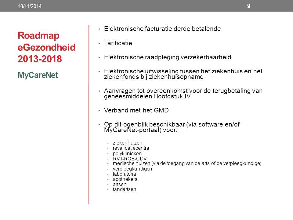 Roadmap eGezondheid 2013-2018 MyCareNet 18/11/2014 9 Elektronische facturatie derde betalende Tarificatie Elektronische raadpleging verzekerbaarheid Elektronische uitwisseling tussen het ziekenhuis en het ziekenfonds bij ziekenhuisopname Aanvragen tot overeenkomst voor de terugbetaling van geneesmiddelen Hoofdstuk IV Verband met het GMD Op dit ogenblik beschikbaar (via software en/of MyCareNet-portaal) voor: ziekenhuizen revalidatiecentra polyklinieken RVT-ROB-CDV medische huizen (via de toegang van de arts of de verpleegkundige) verpleegkundigen laboratoria apothekers artsen tandartsen