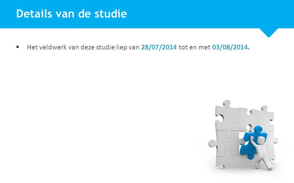 4  Het veldwerk van deze studie liep van 28/07/2014 tot en met 03/08/2014.