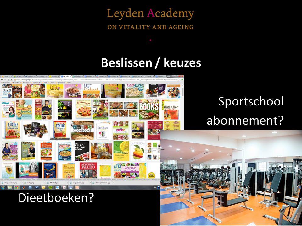 Beslissen / keuzes Sportschool abonnement Dieetboeken