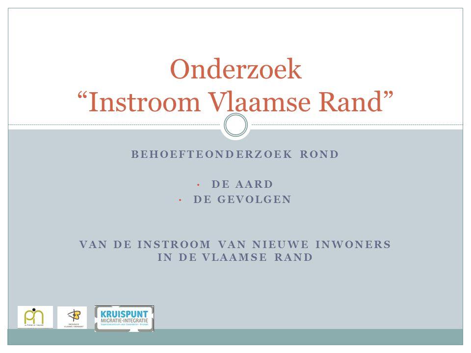 BEHOEFTEONDERZOEK ROND DE AARD DE GEVOLGEN VAN DE INSTROOM VAN NIEUWE INWONERS IN DE VLAAMSE RAND Onderzoek Instroom Vlaamse Rand