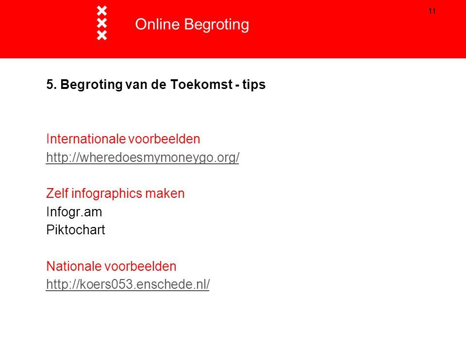 11 5. Begroting van de Toekomst - tips Internationale voorbeelden http://wheredoesmymoneygo.org/ Zelf infographics maken Infogr.am Piktochart National