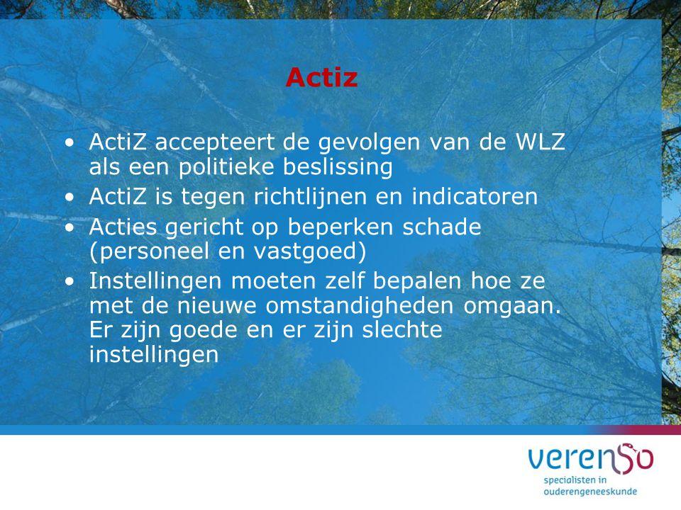 Actiz ActiZ accepteert de gevolgen van de WLZ als een politieke beslissing ActiZ is tegen richtlijnen en indicatoren Acties gericht op beperken schade