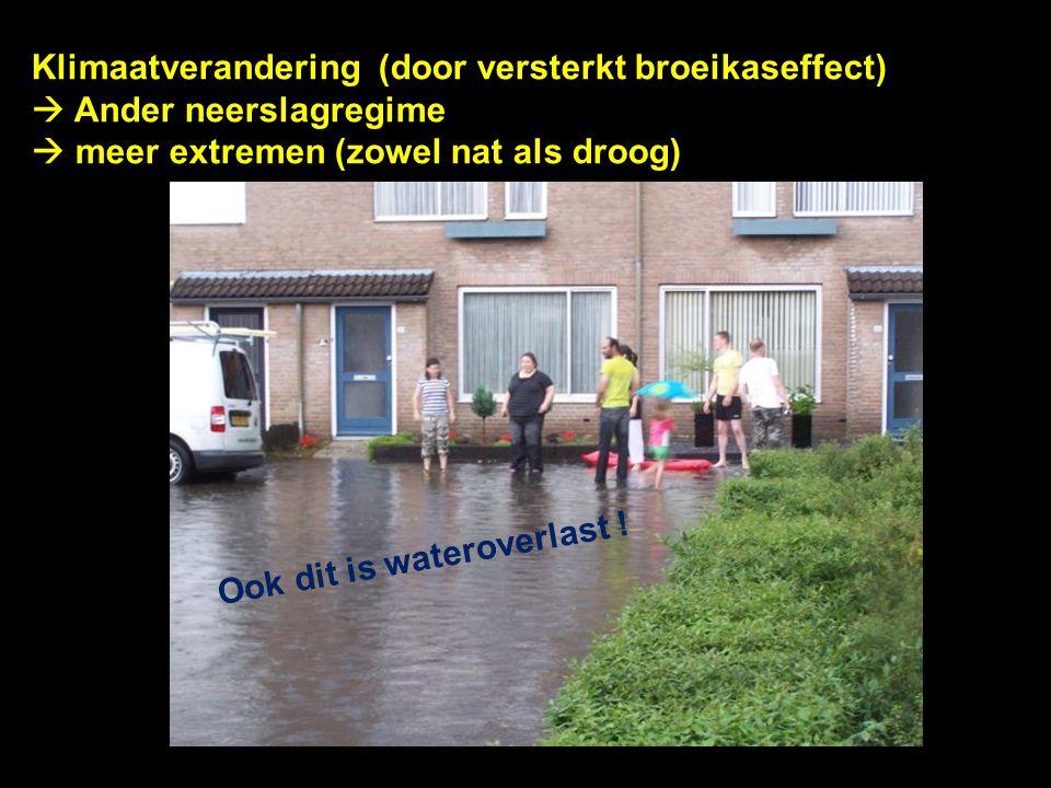 Klimaatverandering (door versterkt broeikaseffect)  Ander neerslagregime  meer extremen (zowel nat als droog) Ook dit is wateroverlast !