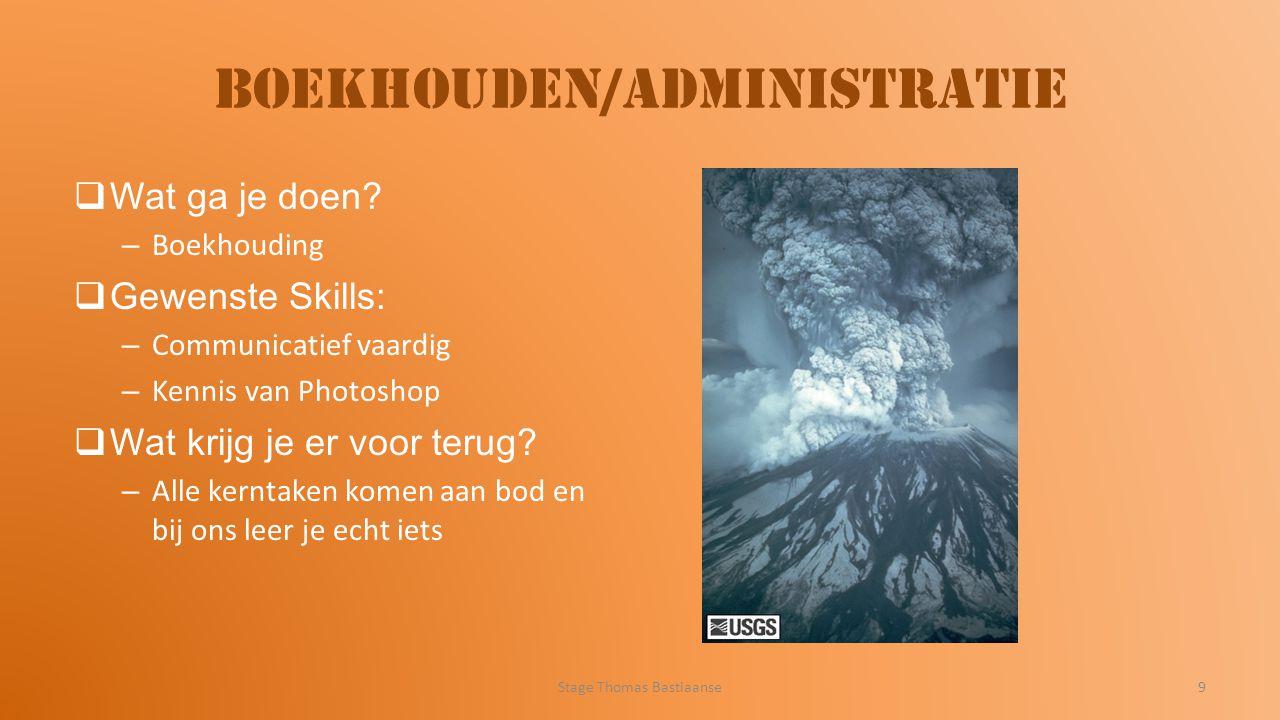 Boekhouden/administratie  Wat ga je doen? – Boekhouding  Gewenste Skills: – Communicatief vaardig – Kennis van Photoshop  Wat krijg je er voor teru