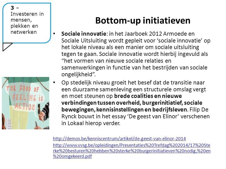 Sociale innovatie: in het Jaarboek 2012 Armoede en Sociale Uitsluiting wordt gepleit voor 'sociale innovatie' op het lokale niveau als een manier om sociale uitsluiting tegen te gaan.