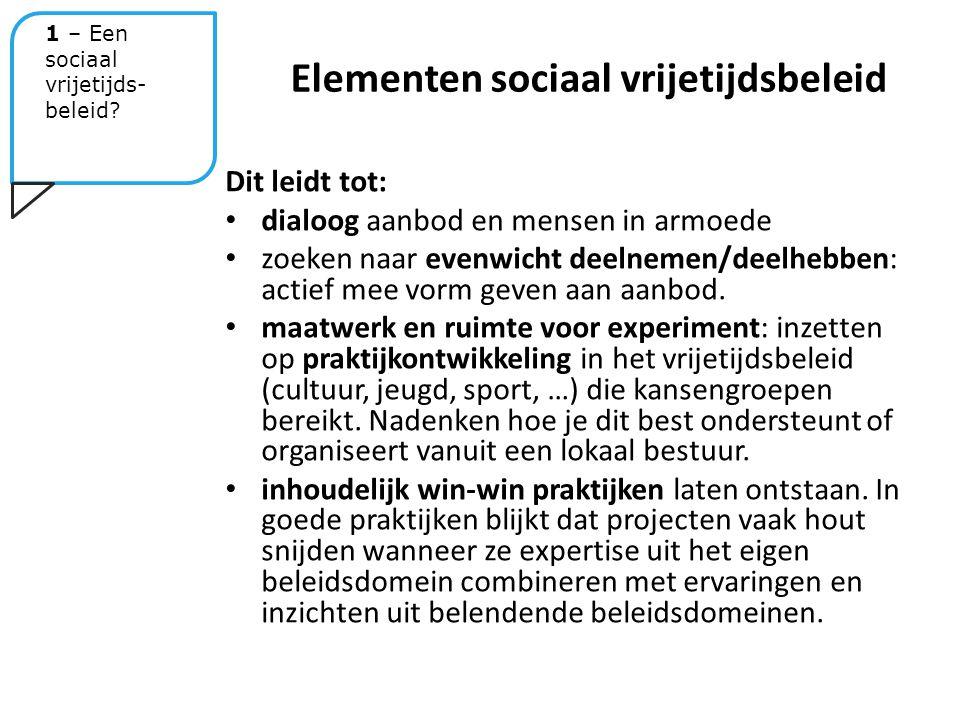 Dit leidt tot: dialoog aanbod en mensen in armoede zoeken naar evenwicht deelnemen/deelhebben: actief mee vorm geven aan aanbod.
