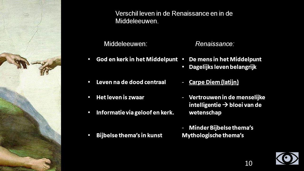 Verschil leven in de Renaissance en in de Middeleeuwen. Middeleeuwen:Renaissance: God en kerk in het Middelpunt Leven na de dood centraal Het leven is
