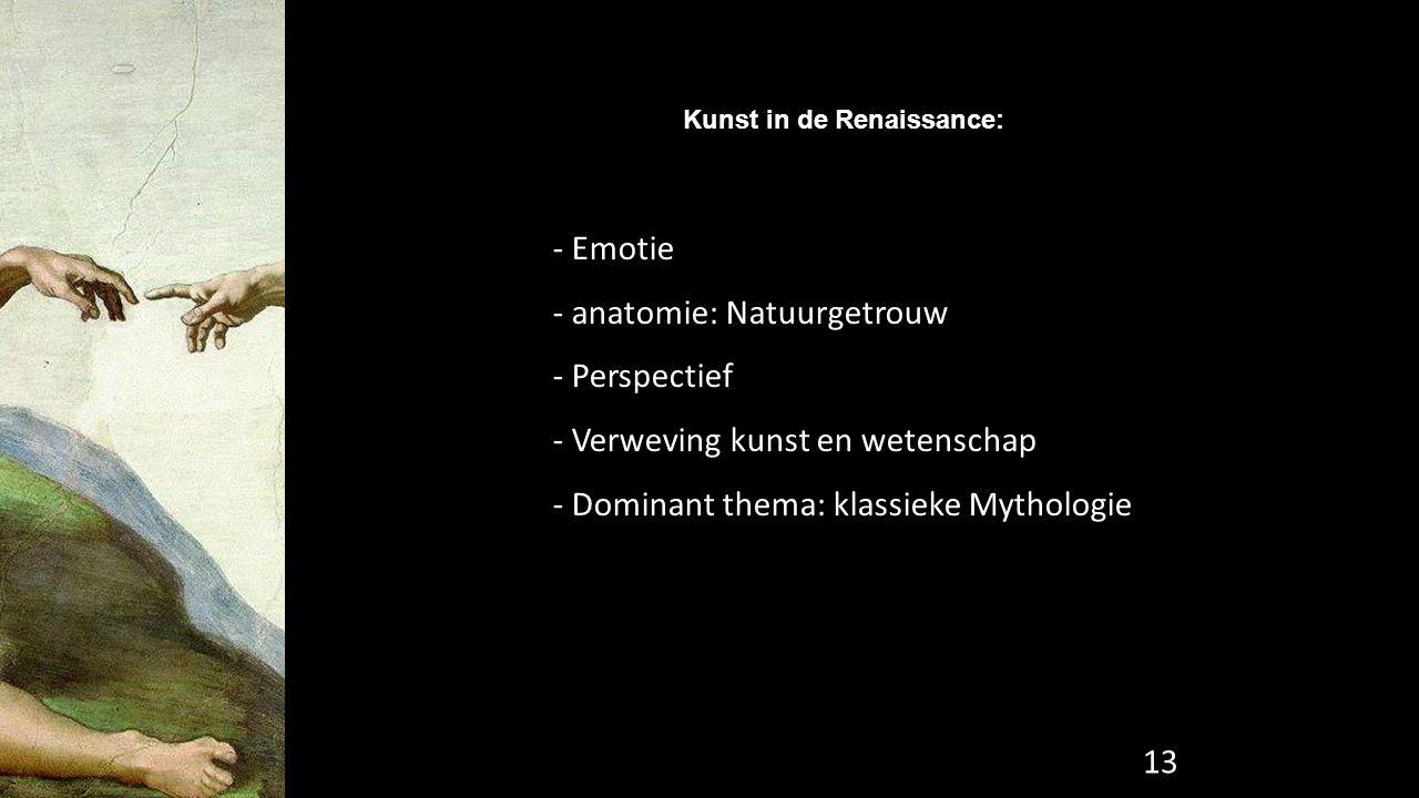 Kunst in de Renaissance: - Emotie - anatomie: Natuurgetrouw - Perspectief - Verweving kunst en wetenschap - Dominant thema: klassieke Mythologie 13