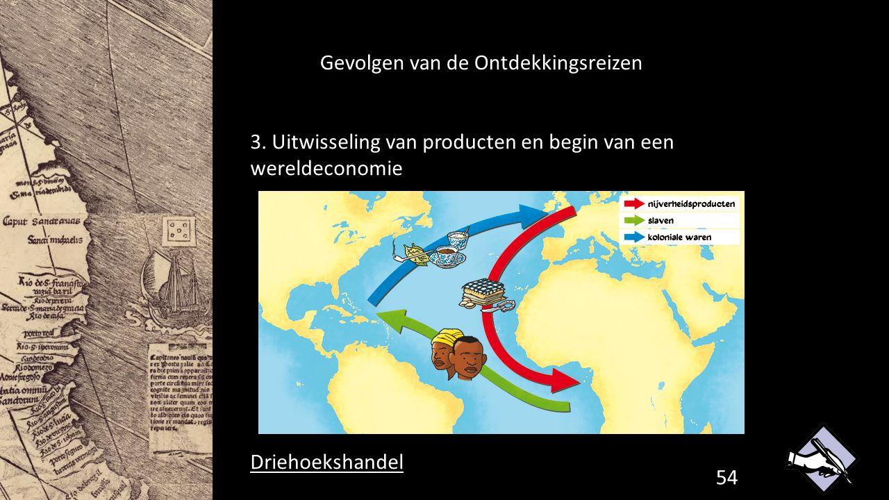 Gevolgen van de Ontdekkingsreizen 3. Uitwisseling van producten en begin van een wereldeconomie Driehoekshandel 54