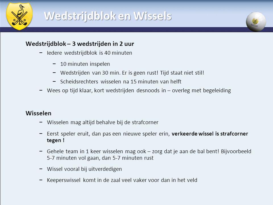 Wedstrijdblok en Wissels Wedstrijdblok – 3 wedstrijden in 2 uur – Iedere wedstrijdblok is 40 minuten – 10 minuten inspelen – Wedstrijden van 30 min. E