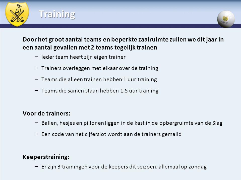 Training Door het groot aantal teams en beperkte zaalruimte zullen we dit jaar in een aantal gevallen met 2 teams tegelijk trainen – Ieder team heeft