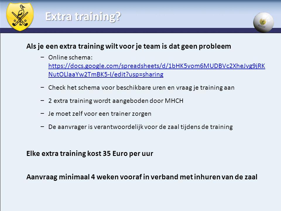 Extra training? Als je een extra training wilt voor je team is dat geen probleem – Online schema: https://docs.google.com/spreadsheets/d/1bHK5vom6MUDB