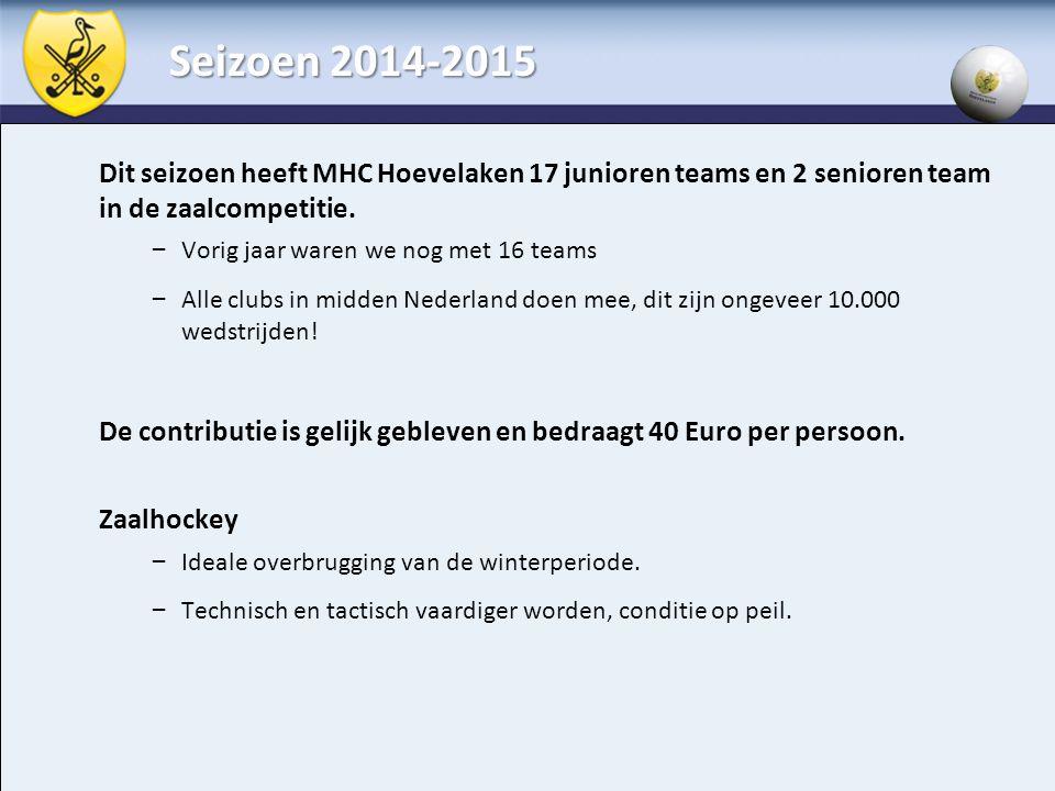 Seizoen 2014-2015 Dit seizoen heeft MHC Hoevelaken 17 junioren teams en 2 senioren team in de zaalcompetitie. – Vorig jaar waren we nog met 16 teams –