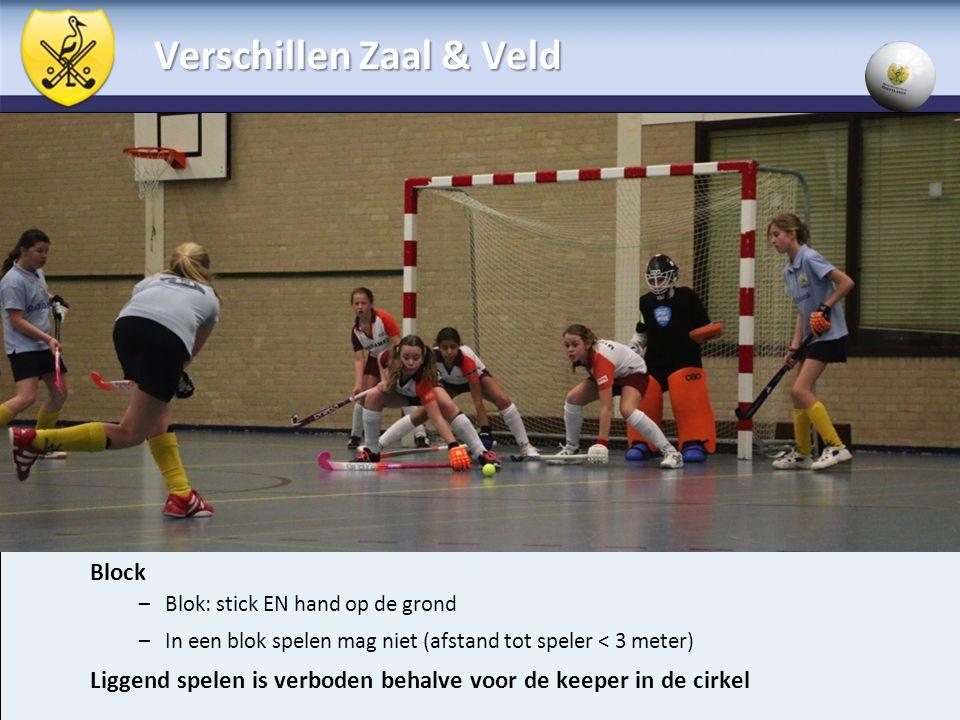 Block – Blok: stick EN hand op de grond – In een blok spelen mag niet (afstand tot speler < 3 meter) Liggend spelen is verboden behalve voor de keeper