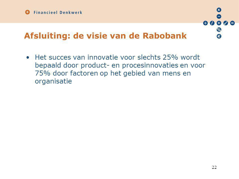 Afsluiting: de visie van de Rabobank Het succes van innovatie voor slechts 25% wordt bepaald door product- en procesinnovaties en voor 75% door factoren op het gebied van mens en organisatie 22