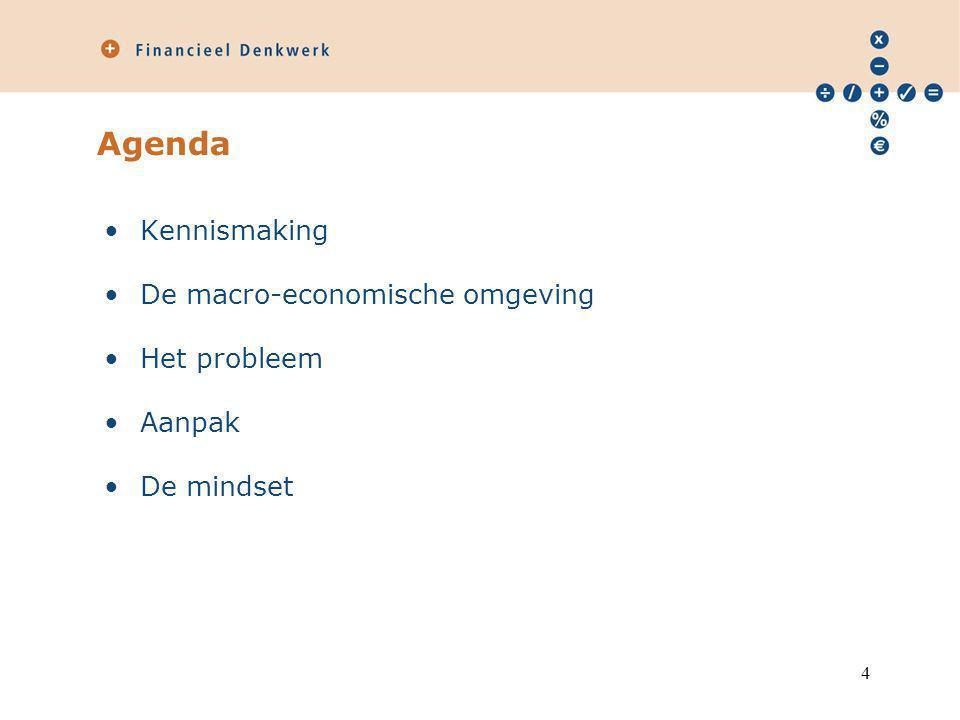 Agenda Kennismaking De macro-economische omgeving Het probleem Aanpak De mindset 4