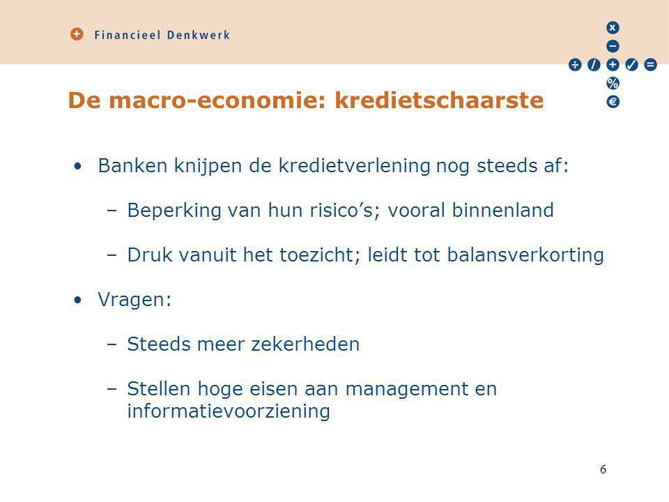 De macro-economie: kredietschaarste Banken knijpen de kredietverlening nog steeds af: –Beperking van hun risico's; vooral binnenland –Druk vanuit het