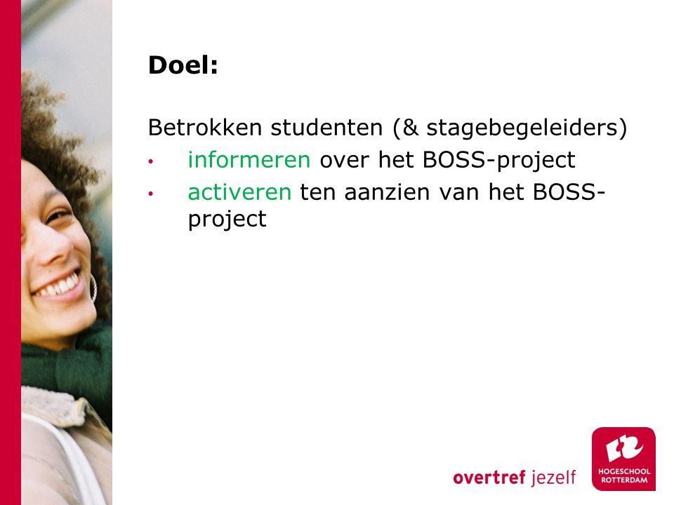 Doel: Betrokken studenten (& stagebegeleiders) informeren over het BOSS-project activeren ten aanzien van het BOSS- project