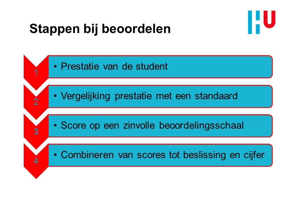 Stappen bij beoordelen 1 Prestatie van de student 2 Vergelijking prestatie met een standaard 3 Score op een zinvolle beoordelingsschaal 4 Combineren v