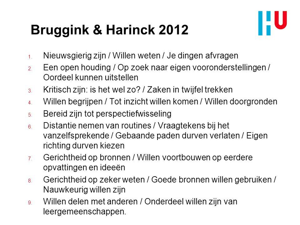 Bruggink & Harinck 2012 1. Nieuwsgierig zijn / Willen weten / Je dingen afvragen 2. Een open houding / Op zoek naar eigen vooronderstellingen / Oordee