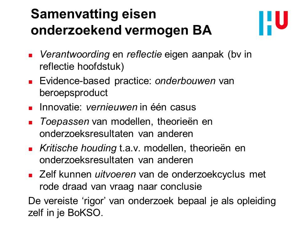 Samenvatting eisen onderzoekend vermogen BA n Verantwoording en reflectie eigen aanpak (bv in reflectie hoofdstuk) n Evidence-based practice: onderbou