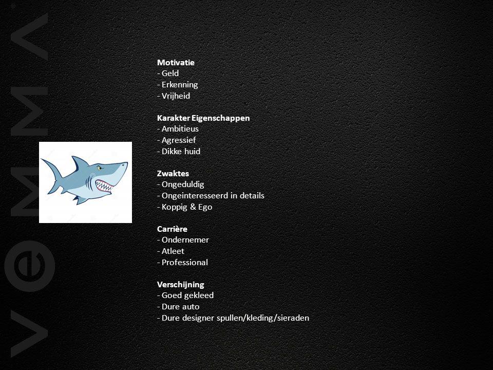 Motivatie - Geld - Erkenning - Vrijheid Karakter Eigenschappen - Ambitieus - Agressief - Dikke huid Zwaktes - Ongeduldig - Ongeinteresseerd in details