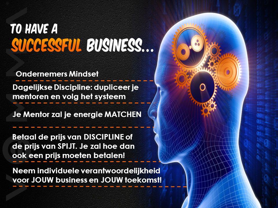 Ondernemers Mindset Dagelijkse Discipline: dupliceer je mentoren en volg het systeem Je Mentor zal je energie MATCHEN Betaal de prijs van DISCIPLINE o