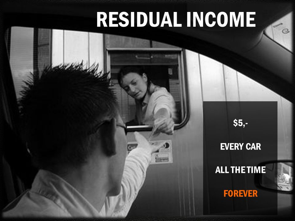 RESIDUAL INCOME $5,- EVERY CAR ALL THE TIME FOREVER