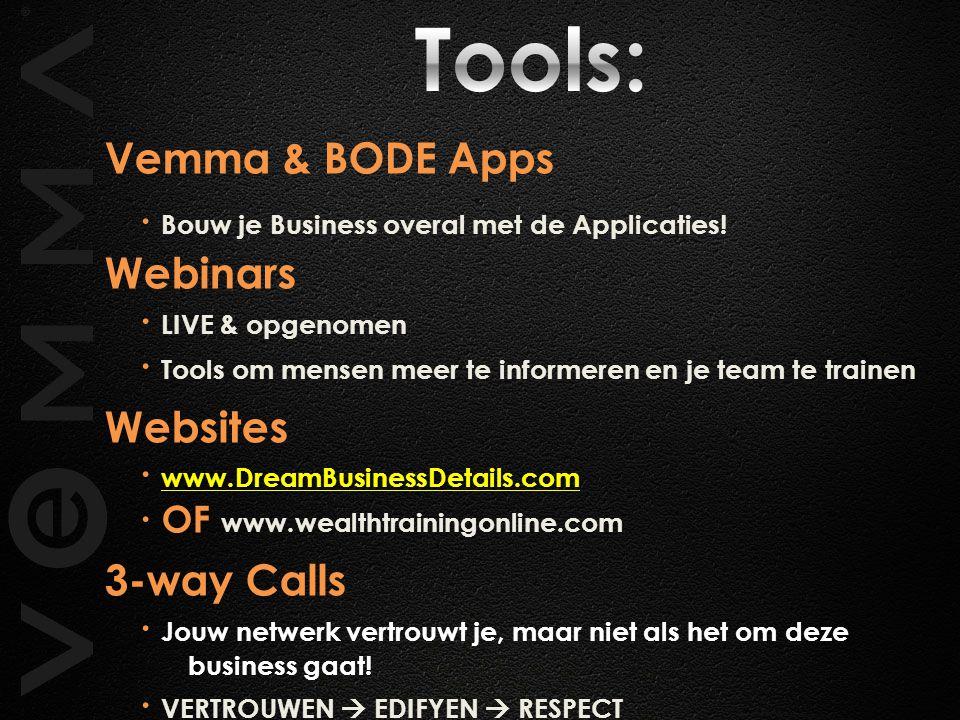 Vemma & BODE Apps ∙ Bouw je Business overal met de Applicaties! Webinars ∙ LIVE & opgenomen ∙ Tools om mensen meer te informeren en je team te trainen