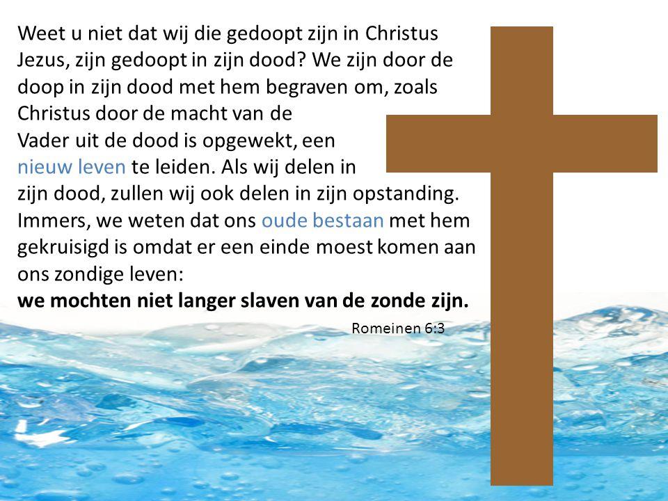 Weet u niet dat wij die gedoopt zijn in Christus Jezus, zijn gedoopt in zijn dood? We zijn door de doop in zijn dood met hem begraven om, zoals Christ