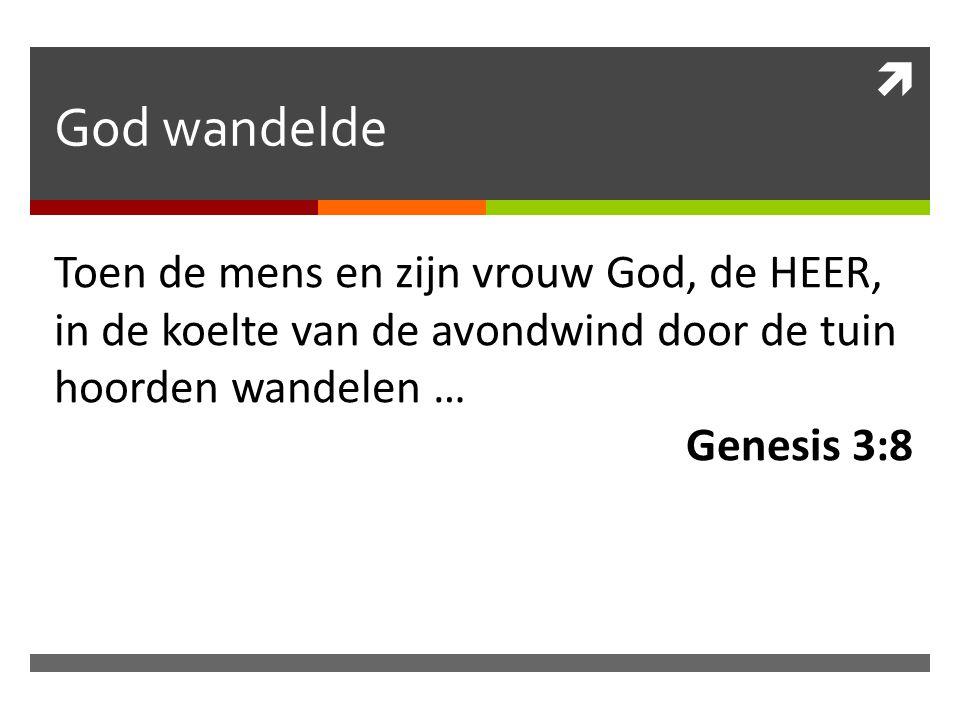  God wandelde Toen de mens en zijn vrouw God, de HEER, in de koelte van de avondwind door de tuin hoorden wandelen … Genesis 3:8