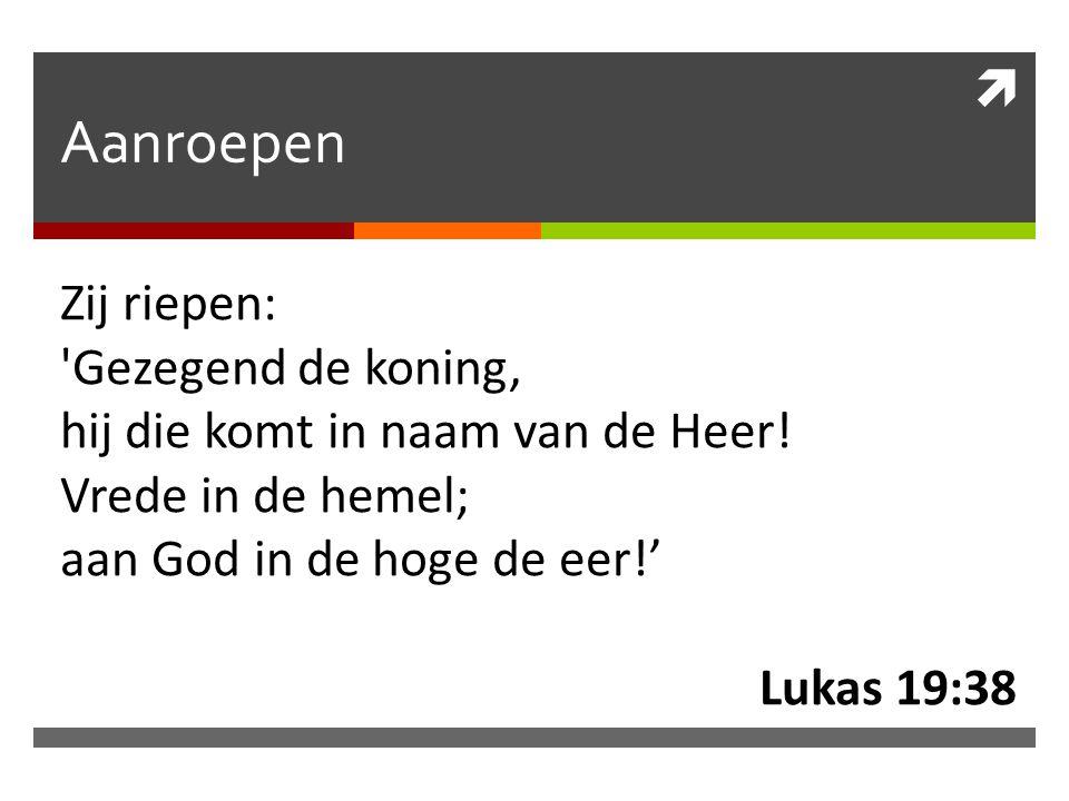  Aanroepen Zij riepen: 'Gezegend de koning, hij die komt in naam van de Heer! Vrede in de hemel; aan God in de hoge de eer!' Lukas 19:38