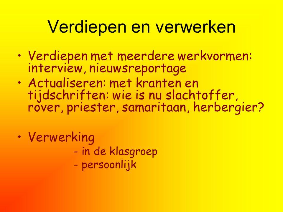 Verdiepen en verwerken Verdiepen met meerdere werkvormen: interview, nieuwsreportage Actualiseren: met kranten en tijdschriften: wie is nu slachtoffer