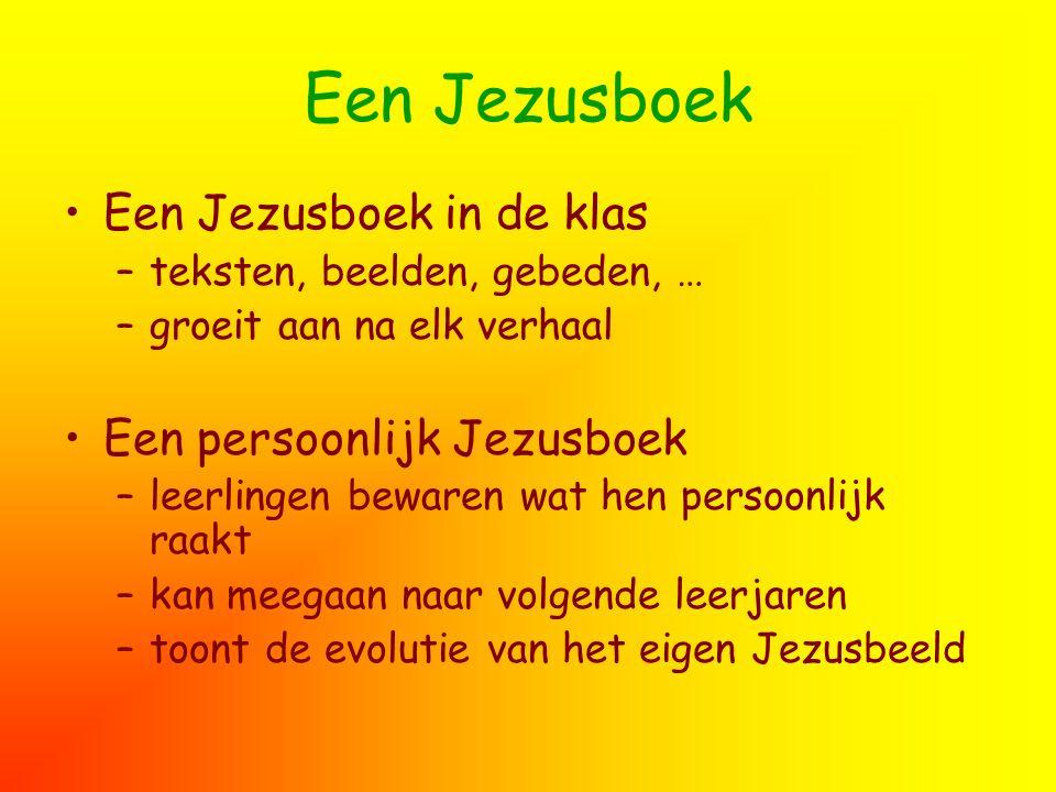 Een Jezusboek Een Jezusboek in de klas –teksten, beelden, gebeden, … –groeit aan na elk verhaal Een persoonlijk Jezusboek –leerlingen bewaren wat hen