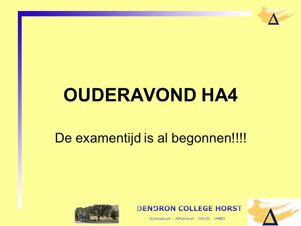 OUDERAVOND HA4 De examentijd is al begonnen!!!!