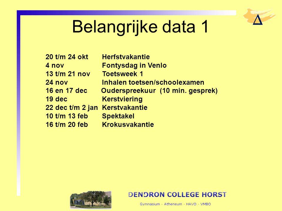 Belangrijke data 1 20 t/m 24 oktHerfstvakantie 4 novFontysdag in Venlo 13 t/m 21 novToetsweek 1 24 novInhalen toetsen/schoolexamen 16 en 17 dec Ouders