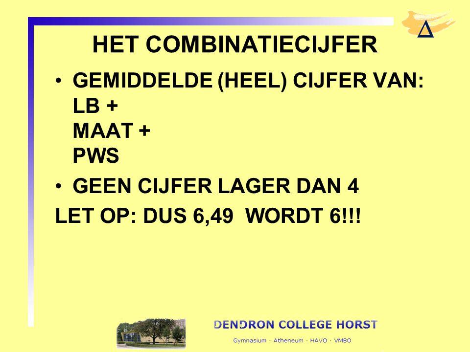 HET COMBINATIECIJFER GEMIDDELDE (HEEL) CIJFER VAN: LB + MAAT + PWS GEEN CIJFER LAGER DAN 4 LET OP: DUS 6,49 WORDT 6!!!