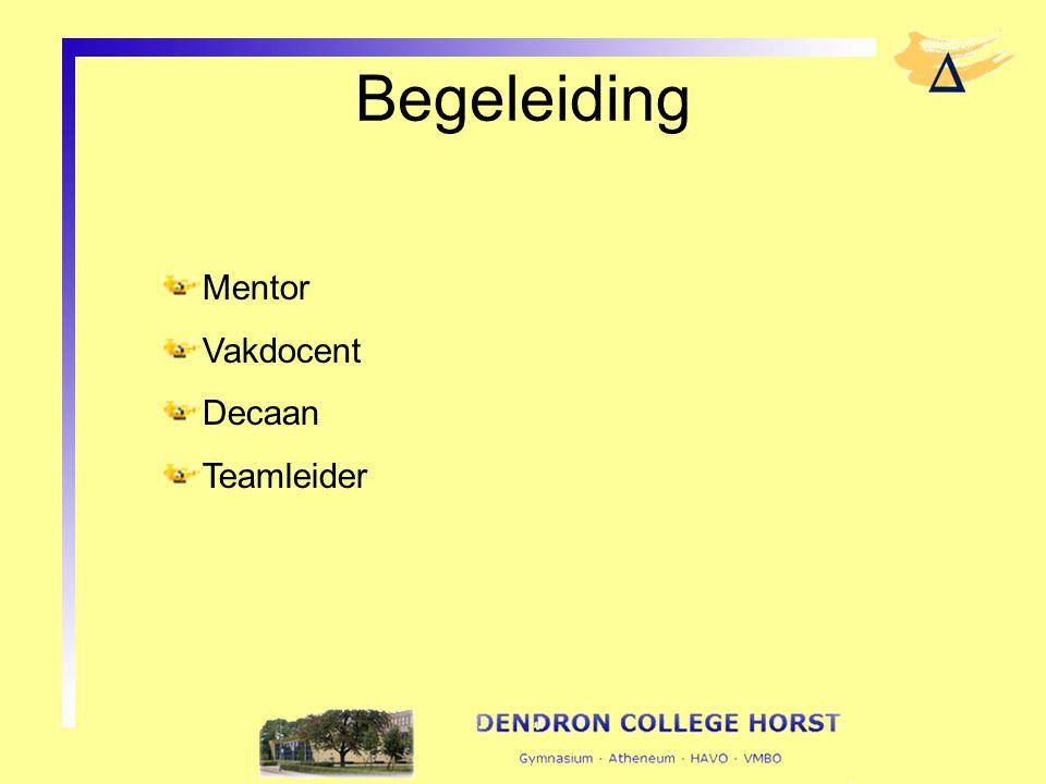 Begeleiding Mentor Vakdocent Decaan Teamleider