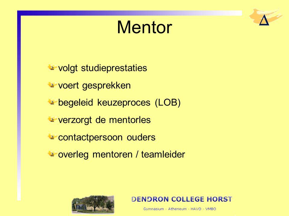 Mentor volgt studieprestaties voert gesprekken begeleid keuzeproces (LOB) verzorgt de mentorles contactpersoon ouders overleg mentoren / teamleider