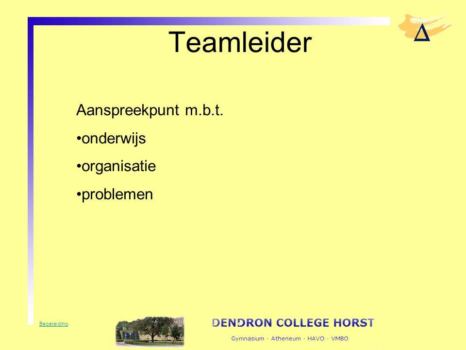 Teamleider Aanspreekpunt m.b.t. onderwijs organisatie problemen Begeleiding