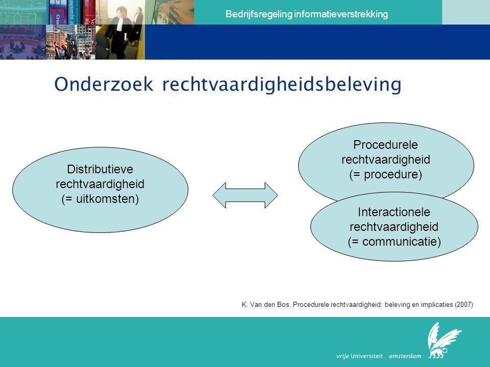 Bedrijfsregeling informatieverstrekking Onderzoek rechtvaardigheidsbeleving Distributieve rechtvaardigheid (= uitkomsten) Procedurele rechtvaardigheid (= procedure) Interactionele rechtvaardigheid (= communicatie) K.
